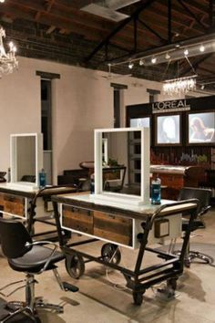 13 Original Salon Decorating Ideas. I like this for a bathroom vanity!