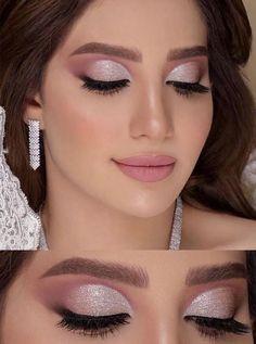 Pink Eye Makeup, Rose Gold Makeup, Girls Makeup, Hair Makeup, Eyeshadow Makeup, Silver Eye Makeup, Makeup Shop, Eyeliner, Party Makeup Looks