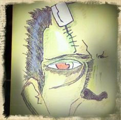 I actually sketched this partial-Frankenstein face on a large manilla envelope before mailing it out with random contents inside for my sister and her son. I first sketched this with a basic #2 pencil, then went over it with a black ink pen. Followed it with green, black, blue, and brown colored pencils for shading and obvis color. It's nothing special but I was proud of it. Drew this Oct 2010. Shitty Artwork By: Lovely Rita