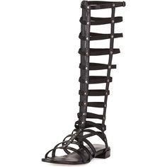 Stuart Weitzman Gladiator Tall Leather Sandal (259,230 KRW) ❤ liked on Polyvore featuring shoes, sandals, black, black leather sandals, cage sandals, caged flat sandals, leather gladiator sandals and black flat sandals