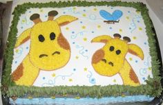 Cuuuute! Giraffe sheet cake.   @Robyn Holdsworth - would this giraffe cake work for Abby-doodle?