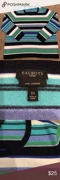 Talbots Women's 100% Cashmere Sweater Beautiful Women's Cashmere sweater from Talbots, in near perfect condition.  Light knit, perfect under a jacket or stunning stand alone piece.  The dark color is navy blue with the blue and green stripes. Smoke and pet free home Talbots Sweaters Crew & Scoop Necks