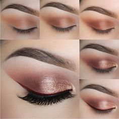 Pair a bold red liner with rose gold eyeshadow to create a more wearable yet…