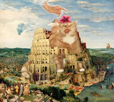 Pieter Bruegel the Elder, The Tower of Babel Cat crushed by a flower