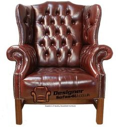 ae62006001b Kings Wing Chair in Leather UK Manufactured Newcastle Burgandy