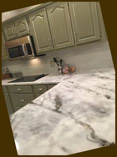 Save Money Using Cabinet Refacing For Your Kitchen Remodel #Easiest #Expensive #RealisticLooking #Faux #Marble #Countertop...
