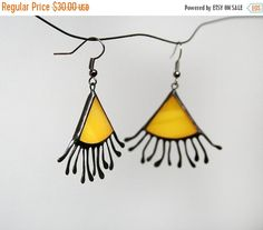 Sun Earrings Yellow Dangle Earrings Stained Glass от ArtKvarta