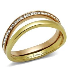 Stacked Rose Gold & Yellow Gold Promise Engagement Wedding Anniversary Metro Ring
