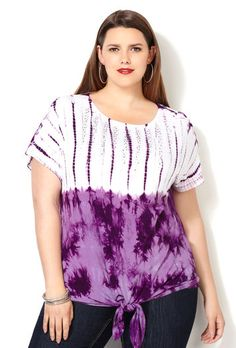 Embellished Tie Front Tie Dye Tee-Plus Size Tee-Avenue Plus Size Tees, Tye Dye, Passion For Fashion, Plus Size Outfits, Plus Size Women, Curves, Tie, Knitting, Clothes