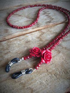 cadena para gafas roja,cordón para gafas rojo