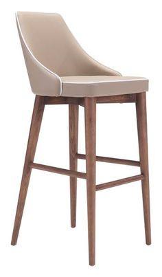 Moor Bar Chair in Beige Leatherette with Contrast Piping on Tapered Wood Legs