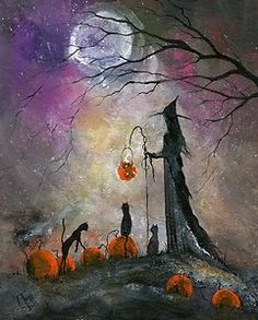 Original Painting WITCH CAT AUTUMN PUMPKIN HALLOWEEN GOTHIC FOLK ART TERRI FOSS | eBay