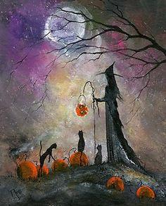 Original Painting WITCH CAT AUTUMN PUMPKIN HALLOWEEN GOTHIC FOLK ART TERRI FOSS   eBay