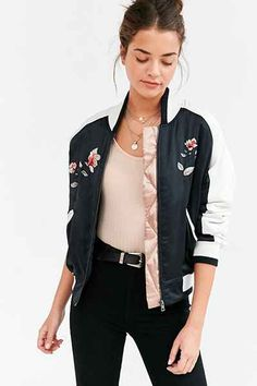 Silence + Noise Stays On Tour Satin Bomber Jacket - Urban Outfitters