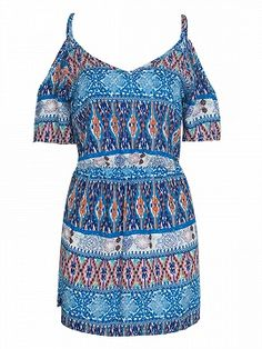 Shop Multicolor Folk Print Cold Shoulder Cut Out Side Bodycon Dress from choies.com .Free shipping Worldwide.$16.9