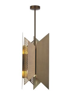 This sculptural design is available with a luxurious antique brass finish throughout and is shown here as a 'diffused' option with intricately cut detailing. The design takes influence from geometric mid-century sculptures and builds upon the striking aesthetic of the previously launched Hera wall light.