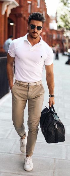 New Moda Hombre Casual Stylish Men Outfit 34 Ideas Polo Shirt Outfits, Polo T Shirts, White Polo Shirt Outfit, Chinos Men Outfit, Dress Shirts, Blazer, Mode Outfits, Casual Outfits, Dress Casual