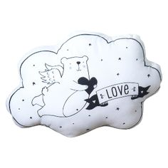 """Love and Dream Cloud Cushion: A cushion and a soft toy with a bear print.  One side says """"love"""" and the other says """"dream"""" so you can alternate a lovely message to your lovely little one."""