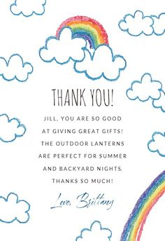 Rainbow - Thank You Card #greetingcards #printable #diy #thankyou #notes #thanks Thank You Notes, Thank You Cards, Thank You Card Template, Greeting Cards, Thankful, Printable, Rainbow, Messages, Templates