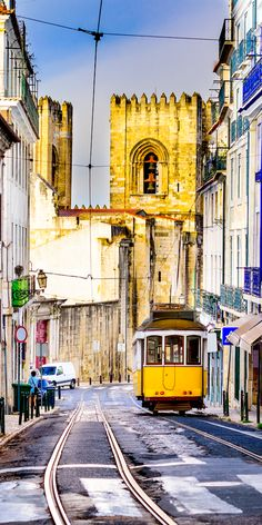 Portugal cityscape and tram, Lisbon