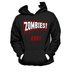 Zombies Run Unisex Sweatshirt Hoodie Zombie by NerdGirlTees