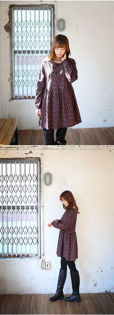 [슈가펀]장미주름원피스 / 코튼기모 겨울플라워원피스 : 슈가펀