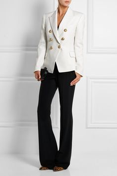Balmain | Double-breasted wool-twill blazer | NET-A-PORTER.COM