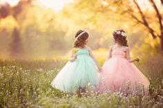 Pastel adorables vestidos de niña de las flores del tutú