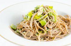 Vegane Spaghetti Carbonara mit Lauch-Kokos-Sauce