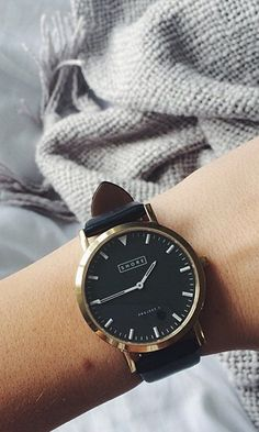 St Ives watch with black leather straps
