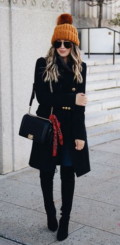 #fall #outfits women's black coat and black skinny jeans. Click To Shop This Look.