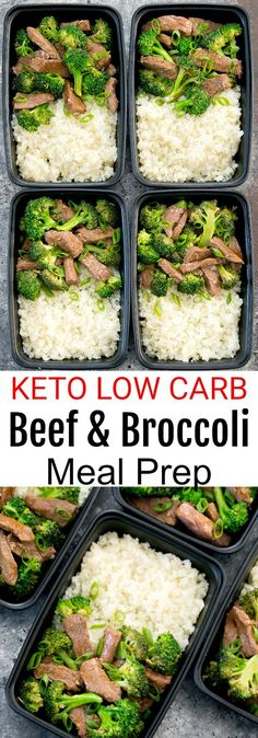 Beef and Broccoli with Cauliflower Rice Meal Prep. This easy stir fry is low carb and keto-friendly.
