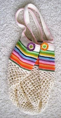 Beautiful bag - love the rainbow stripes.  This link takes you to a tutorial on how to make your own mesh bag that you can customize as you please!