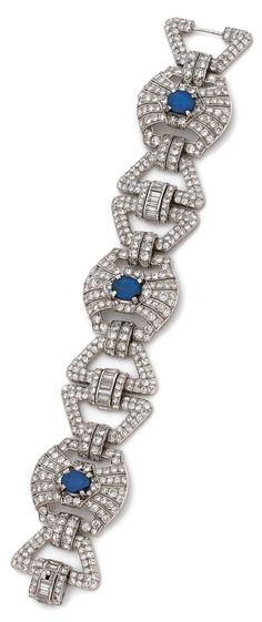 An Art Deco diamond, sapphire and platinum bracelet, circa 1930. #ArtDeco #bracelet