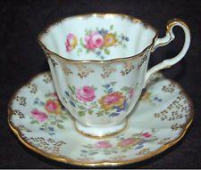 Vintage Royal Adderley Inglaterra porcelana fina de osso Xícara E Pires-Rosa Rosa Floral