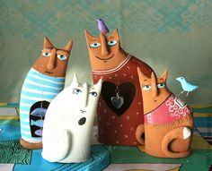 Коты-Человеки - кот,кошка,коты,котики,глина,Керамика,птица,птичка,сердце