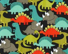 1 Yard Dino-Mites Retro Fabric by Michael Miller Gray Orange Turquoise Green Dinosaurs