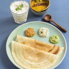 South Indian Dosa Breakfast with chutneys and sambhar