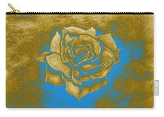 Rose Carry-all Pouch featuring the painting Gold Rose by Faye Anastasopoulou