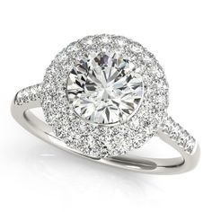 Diamond Double Halo Engagement Ring Prong Set 14k White Gold 3.00ct, Women's, Size: 9