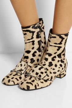 Gucci|Leopard-print calf hair ankle boots|NET-A-PORTER.COM