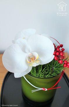 松の枝を細かくカットして花器に敷き詰めるように活けるとそれ自体が「花留め」の役割をしてくれます。<b...