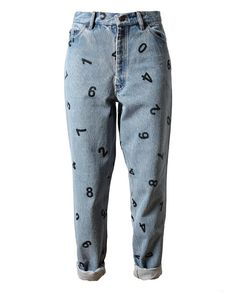 YOU CANNOT BE SERIOUS. This belongs on a 3-year-old. Number Printed Denim Jeans by ASHISH