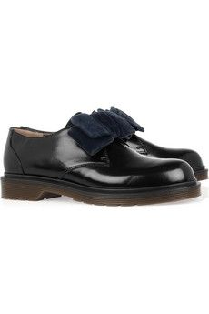 Marni|Velvet-bow glossed-leather brogues|NET-A-PORTER.COM - StyleSays