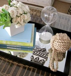 If you need to accessorize a coffee table then HomeGoods is the place. Some books, flowers, coasters, hourglass [HG], rope ball [HG] Get to it. Tray Styling, Coffee Table Styling, Coffee Table Design, Props For Sale, Coffee Table Accessories, Simple Coffee Table, Home Decor Lights, Creative Decor, Home Decor Inspiration