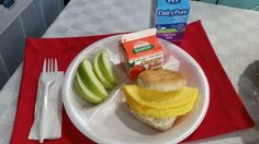 Student in Wake County enjoyed this healty breakfast! An egg sandwich with fresh fruit, juice, and milk.