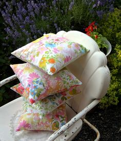 Vintage sheets patchwork pillows.
