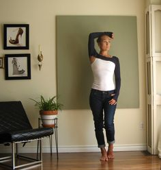 New - Tiny Dancer Fitted Shrug Long Sleeves Thumbholes Bolero Athleisure Wear Lagenlook Crop Top Lightweight Jersey - Navy - Made to Order by KimKatDesign on Etsy https://www.etsy.com/listing/458931058/new-tiny-dancer-fitted-shrug-long