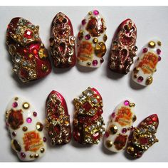 "3D deco nails- ""Gryffindor"" - Harry Potter/ Hogwarts themed (€29) ❤ liked on Polyvore featuring beauty products, nail care, nail treatments, nails and harry potter"