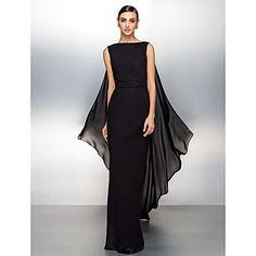Formal Evening Dress - Black Plus Sizes / Petite Sheath/Column Bateau Watteau Train Chiffon – USD $ 139.99